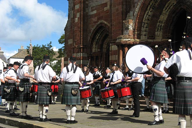 Pipe Band in Orkney.
