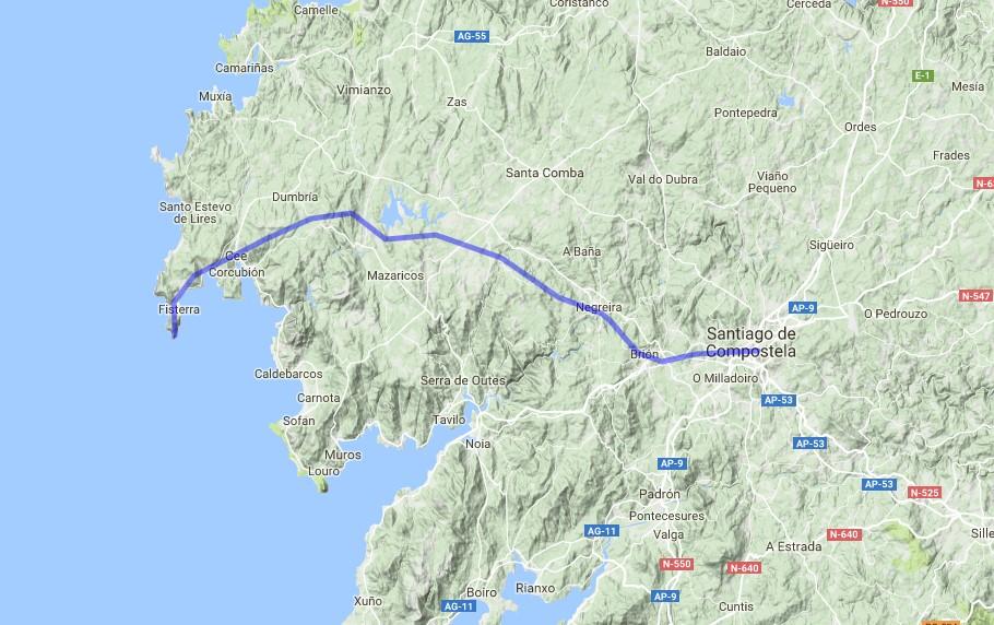 Landkarte - Jakobsweg von Santiago de Compostella nach Finisterre