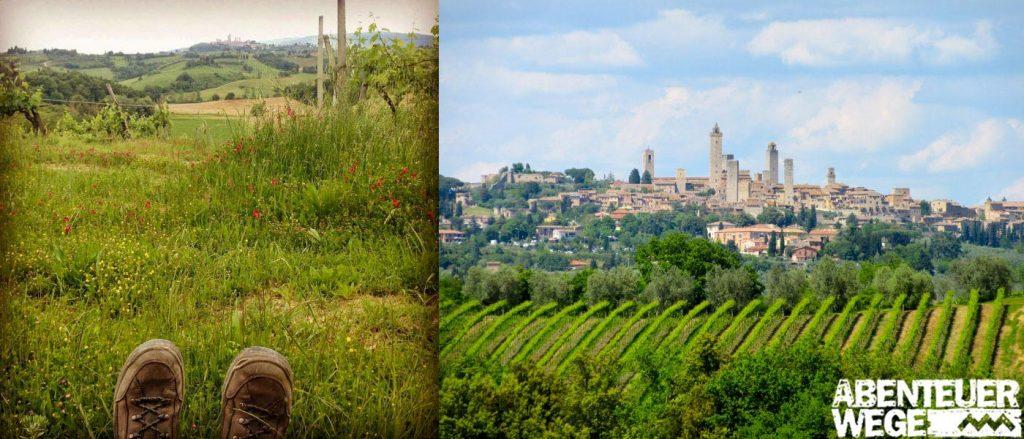 Pause in den Weinbergen der Toskana mit Ausblick auf San Gimignano.